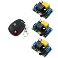 Top Quality RF Wireless Remote Control Switch System AC 220 V 1 Channel 3 Piece Receivers