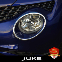 Chrome Head Lamp Front Bumper Headlight Ring Trim Cover For Nissan Juke 2011 2014
