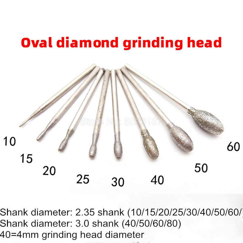 6mm Egg Shape Diamond Grinding Head Polishing Rotary Tool for Metal 3mm Shank