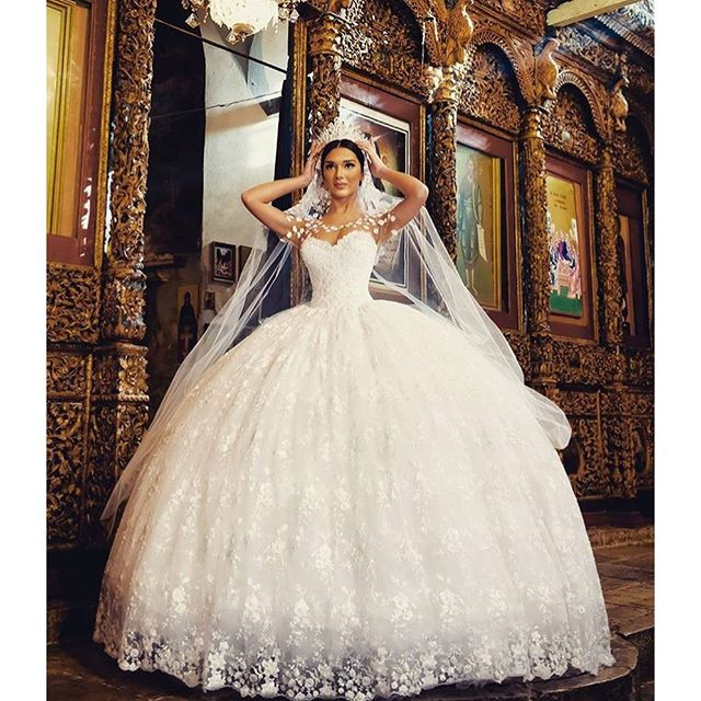 566ef58044ec3 vestidos de novia New See Through Top Ball Gown Wedding Dresses Sweetheart  Pearls Flowers Tulle Princess