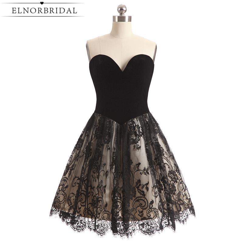 Little Black   Cocktail     Dresses   2019 Modest Short Prom   Dress   Sweetheart Lace Robe De   Cocktail   Noire Girls Homecoming   Dress
