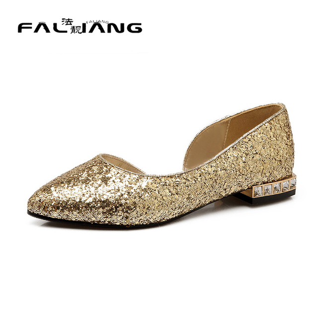 db99337d060 New fashion women shoes 2016 pointed toe women flat bridal shoes silver  gold flats women casual shoes driver ladies flat shoes