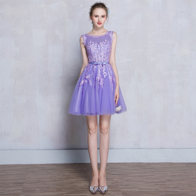 de34201c1c Short Prom Dresses Lace Top Appliqued Beaded Purple Party Dresses Robe De  Soiree Knee-Length
