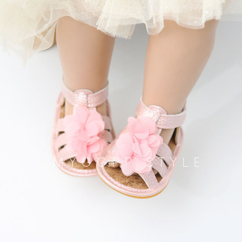2019 Summer Newborn Baby Girls Sandal PU Flower Leather Princess Shoes Infant Kids Toddler Soft Sole Non-slip Crib Shoes 3-18M