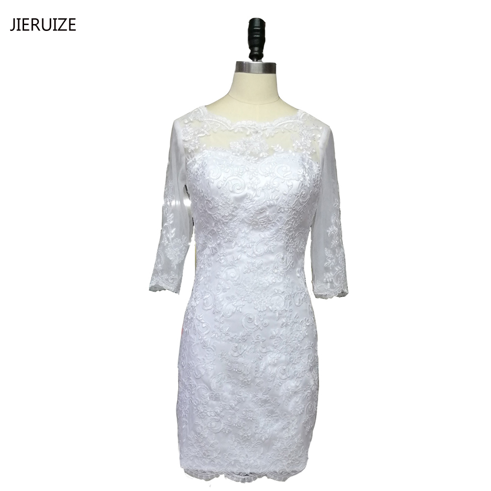 JIERUIZE White Vintage Lace Appliques Short Wedding Dresses Backless Long Sleeves Wedding Gowns vestido de noiva curto