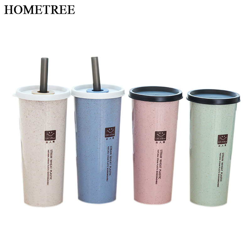 79db6391434 HOMETREE 470ml Water Cup With Straw Cola Coffee Cups Wheat Straw Plastic  Healthy Drink Bottle Multi-Functional Bouble Lid H218