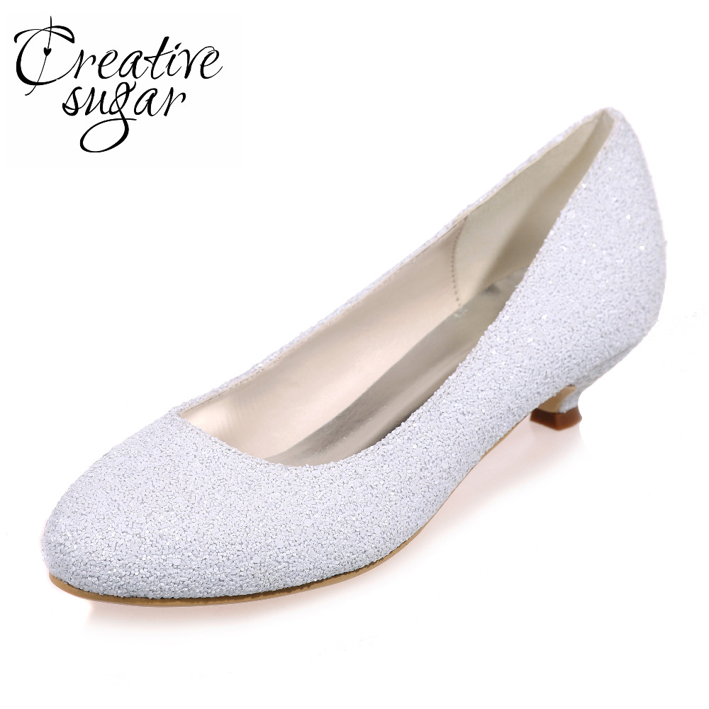 Creativesugar Special touching rounded toe low heel 3D white glitter concise party prom heels lady wedding bridal shoe slip on creativesugar sparkle glitter lady party fashion show shoes closed toe slip on pumps bridal wedding party prom gold silver blue