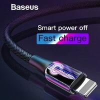 Baseus Intelligent power Off USB кабель для iPhone x xs max зарядный кабель C-type Breathe Lighting для зарядного устройства iPhone