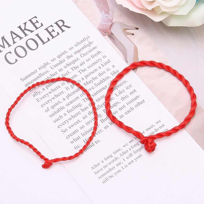 Hot Men bransoletka czerwona bransoletka z liny szczęśliwe bransoletki na nodze dla kobiet przewód linia ciągów ręcznie robiona biżuteria dla pary kochanka prezent