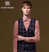 Men Formal Suits Vests Retro Big Plaid Super Slim Fashion V-Neck Autumn Winter Warm Young Man Business Wedding Groom Vest Casual