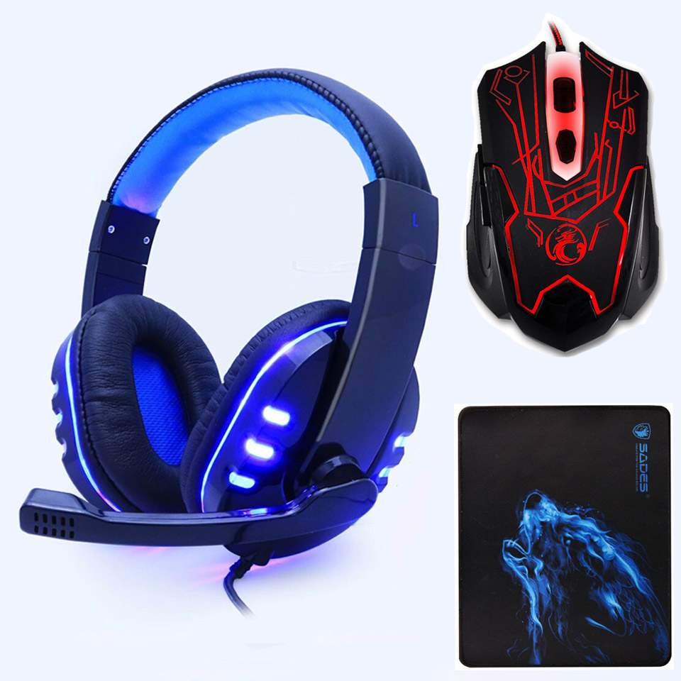 PS733 Stereo headphone headset casque Deep Bass Computer Gaming Headset PS4 with Mic LED Light for PC Game Gamer Earphone