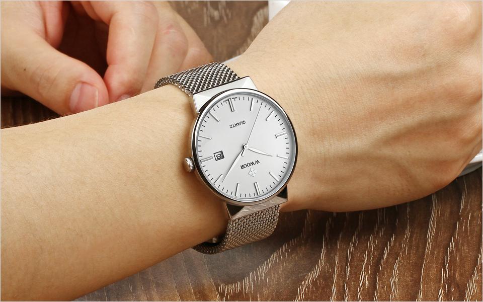 WWOOR Brand Luxury Men Waterproof Stainess Steel Casual Gold Watches Men's Quartz Sport Wrist Watch Male Clock relogio masculino 15