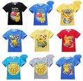 Muchacho Niños Pantalones Cortos de La Manga Shirt Summer Tops Tees Pikachu Ocasional T camisa Equipo Nerd T-shirt Pokemon Pokeball Ir Equipo Camisetas