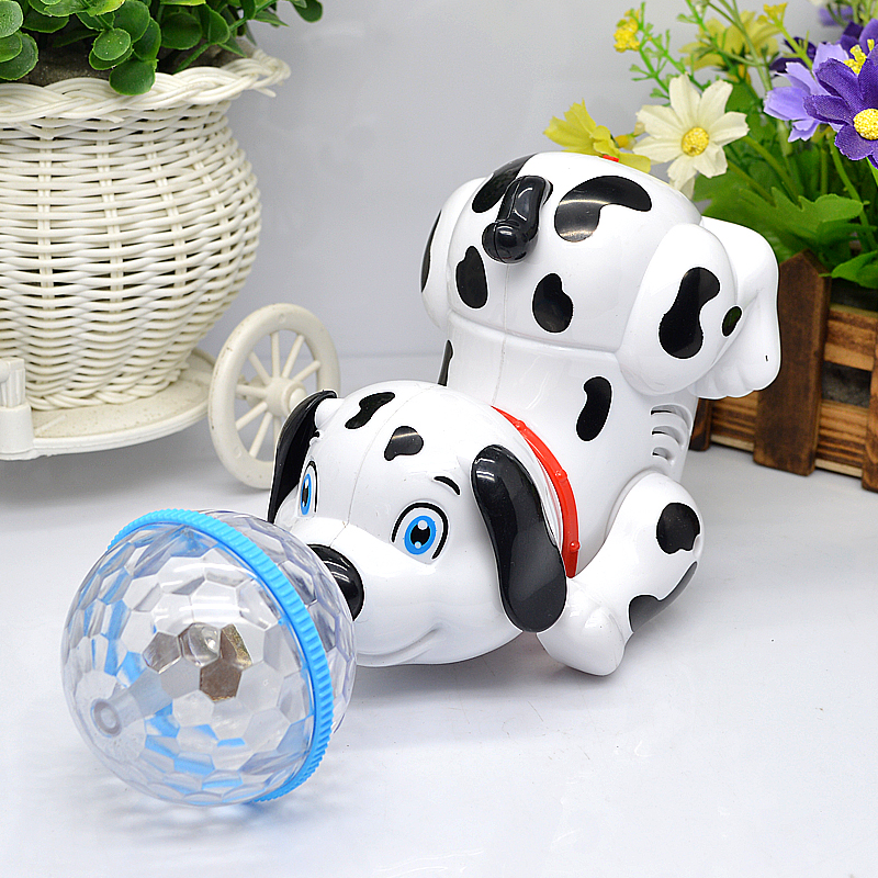 Купить с кэшбэком Electric interactive toys children's young toys electric dog innovation dynamic music dance rotate 360 degrees  3D light