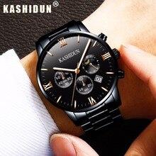 KASHIDUN relogio masculino Hombres Relojes de Primeras Marcas de Moda de Lujo de Negocios Reloj de Cuarzo Deporte de Los Hombres Reloj de Acero Completo Impermeable