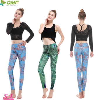Green Peacock Athletic Leggings Sky Blue Peacock Feather Fitness Gym Clothing For Womens Sexy Butt Lift Yoga Running Tights Slim sexy sports bra and leggings