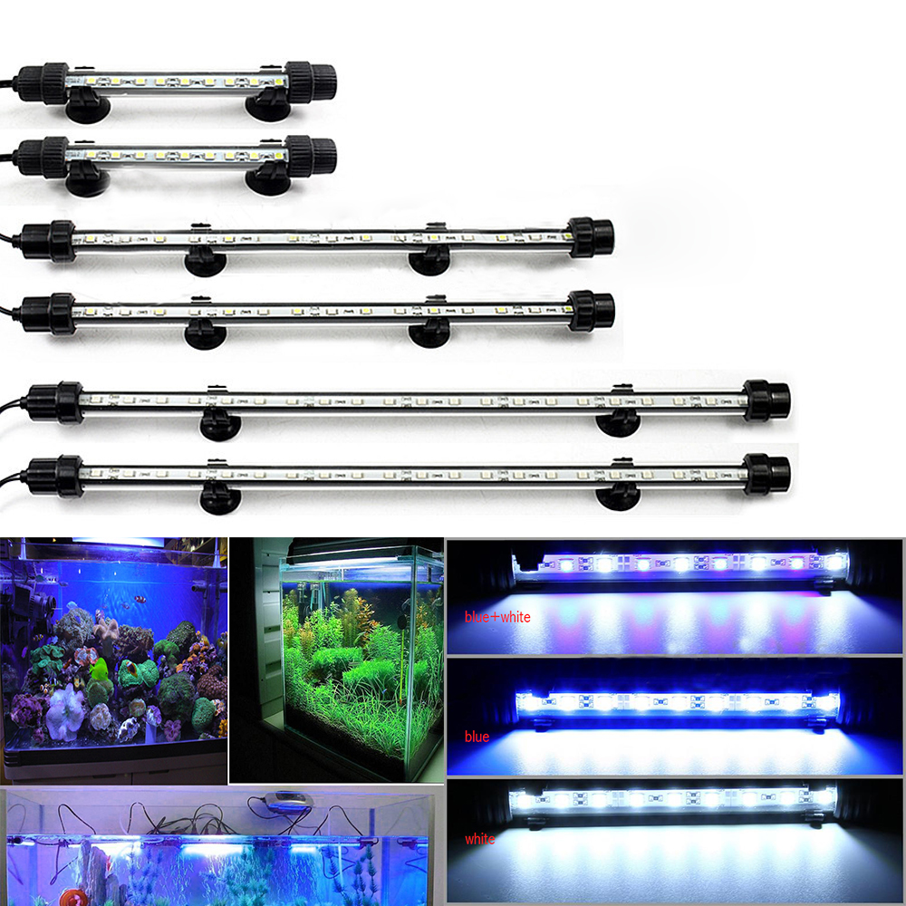 New Waterproof Aquarium LED Light Fish Tank 9/12/15/21 Blue/White 18/28/38/48CM Bar Strip Light Lamp EU plug Aquarium Lighting
