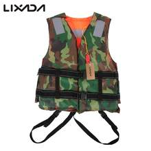 Lixada Camouflage Green Fishing Vest Adult Lifesaving Life Jacket Clothing Safety Survival Suit Swimming Drifting Fishing(China)
