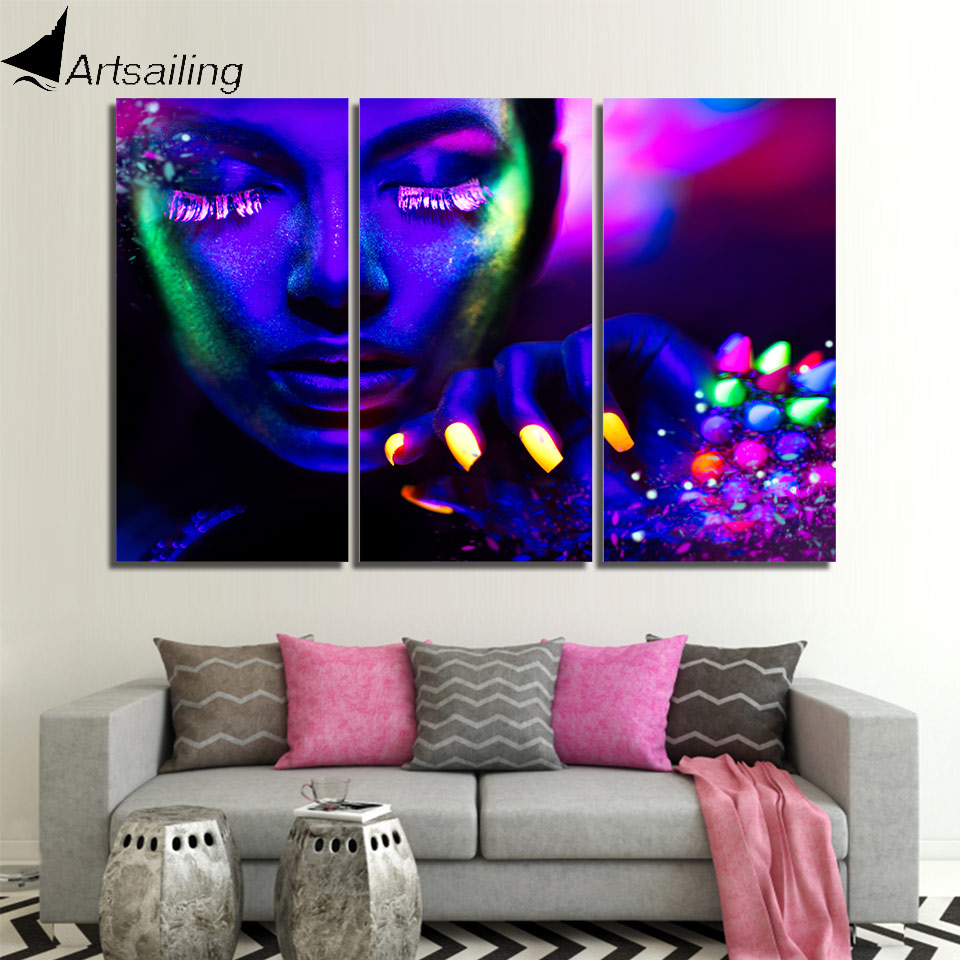 Framed Neon Night City Japan Canvas Print Wall Art Home Decor 5 Pieces 3D effect