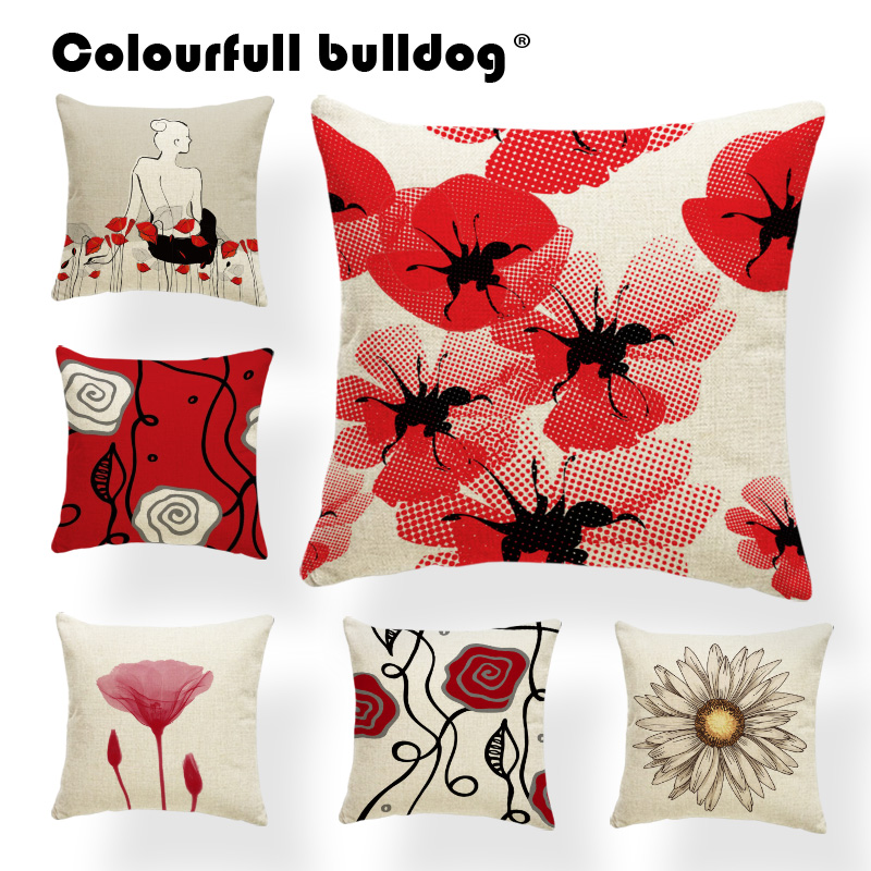 Plant Cushions Chrysanthemum Pillowcase Baroque Lounger Chair For Living Room Throw Pillow Cushion Red 43X43Cm Linen Promotional