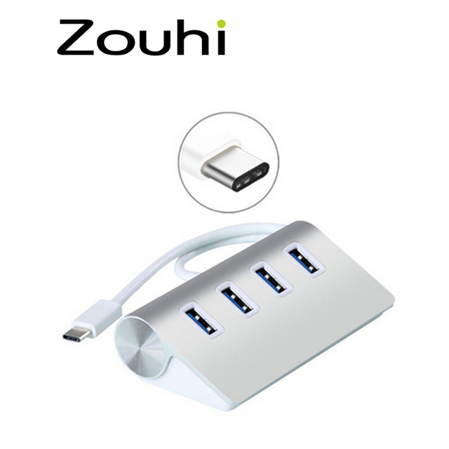 Zouhi alta velocidade de 4 portas usb 3.1 tipo-c para usb 3.0 hub alumínio portátil para macbook, usb tipo c hub otg para xiaomi htc 1 + yijia