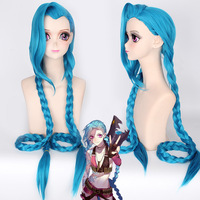 LOL Jinx Wigs 120cm Long Blue Double Braided Ponytails Heat Resistant Synthetic Hair Cosplay Wig + Wig Cap