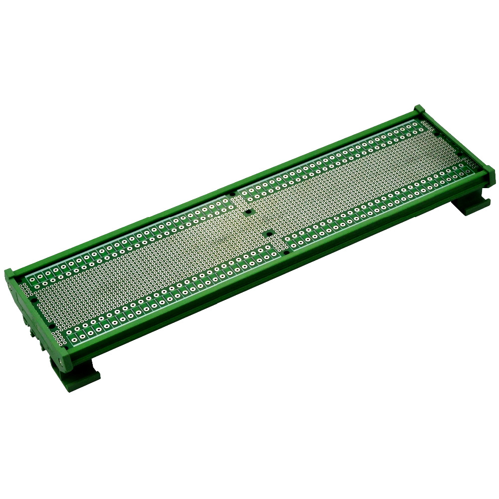 Electronics-Salon DIN Rail Mounting Carrier Housing With Prototype Board, PCB Size 296 X 72mm, For DIN Rail Projects DIY.