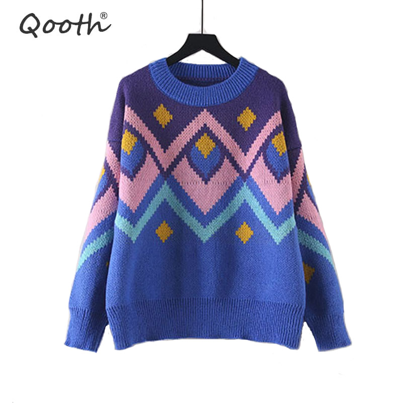 Qooth Women Winter Sweater And Pullovers Vintage
