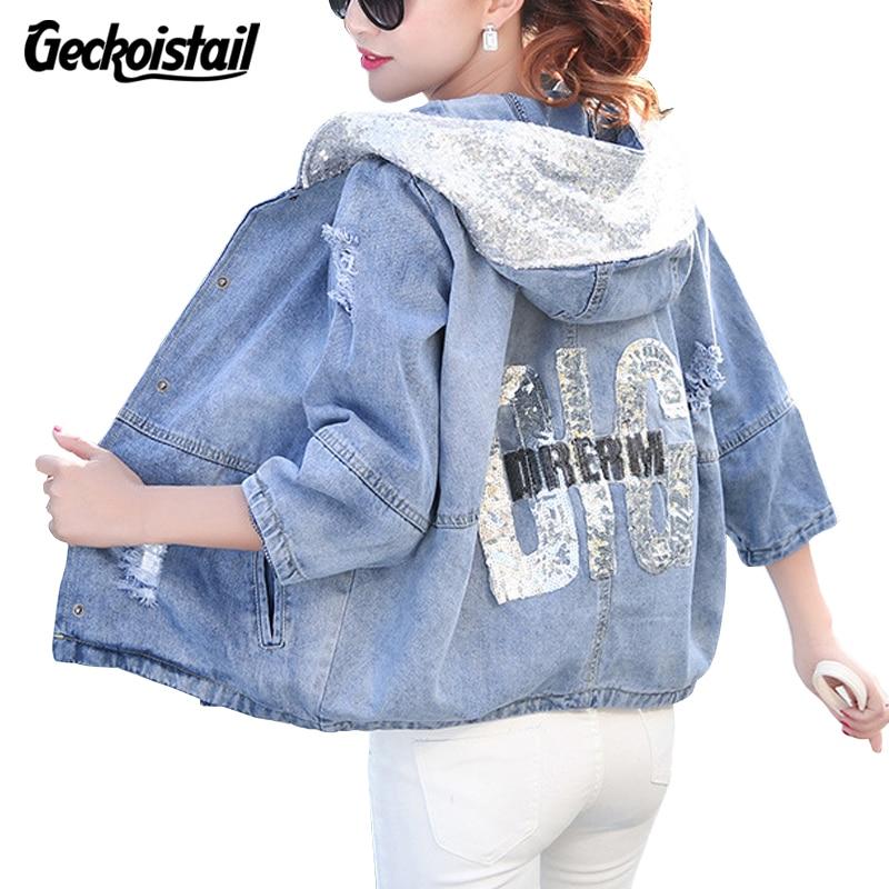 Geckoistail Nuevos Jeans Jacket Women Otoño de Lentejuelas Sueltas de Gran Tamañ