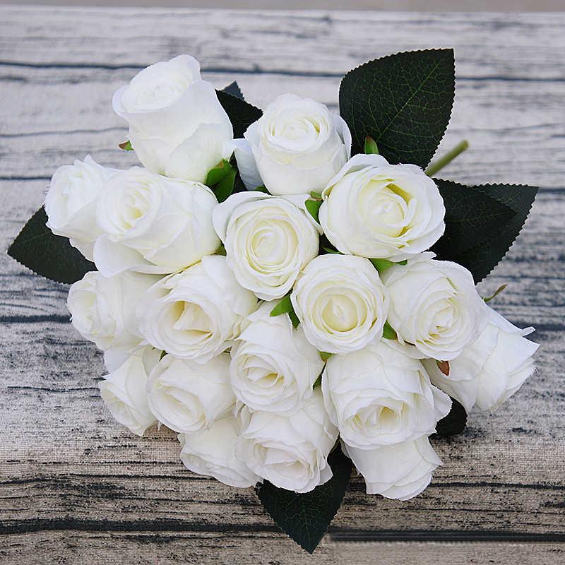 18 шт./лот искусственные Сатиновые розы/украшение на свадьбу букет белый розовый Тайский Королевский розовые шелковые цветы для домашнего свадебного украшения вечерние украшения