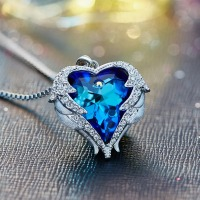 Cdyle Crystals from Swarovski Necklaces Zircon Fashion Jewelry for Women Pendant 2018 Blue Rhinestone Luxury Set Heart Statement 1