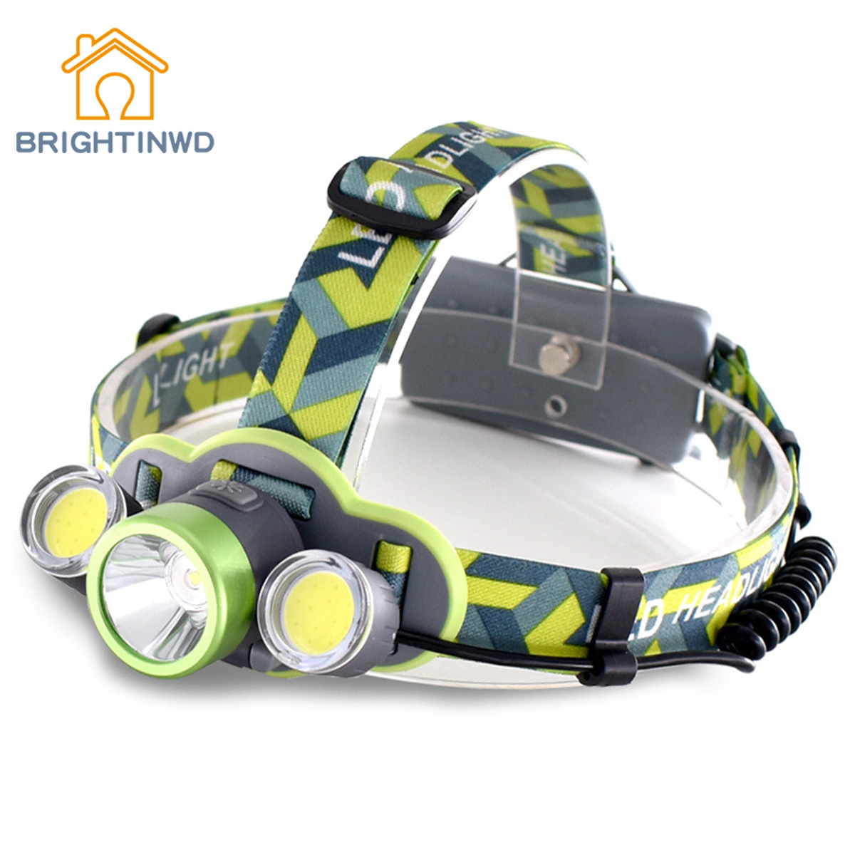 BRIGHTINWD New Three Head Light LED Headlight USB Charging Super Bright Mining Work Head Lamp Camping Night Riding Headlights ...