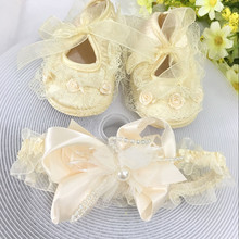 Kids flowers Shoes  Girl Princess Lace Headband Cute Infant Girl Toddler Shoes Set Newborn Photography Props 5TX09