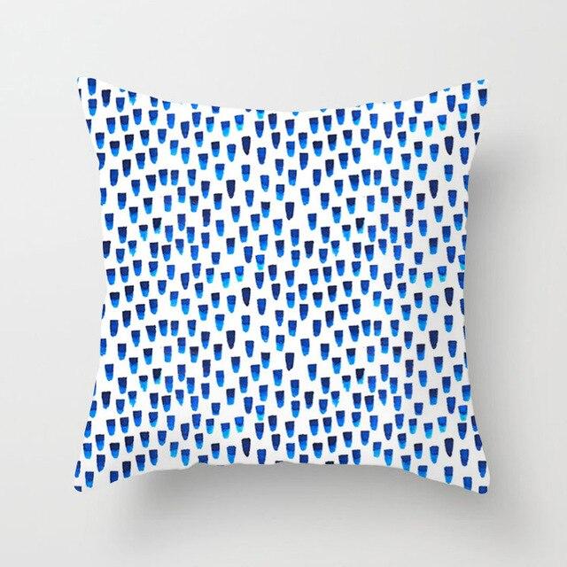 Di trasporto del nuovo Creativo Blu Disegno Astratto Stampato Cuscino Coperture 45x45 cm Per La Casa/Ufficio Divano Cuscino Vita Coperture Poliestere lenzuola Federa