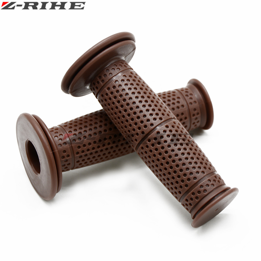 Universal 7/8'' 22MM Vintage rubber Motorcycle handle grips coffee Motorbike handlebar grips 8 Colors Available
