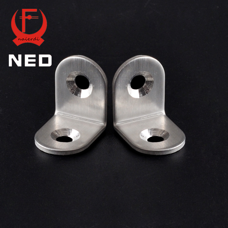 NED 20x20x16mm Practical Stainless Steel Corner Brackets Joint Fastening Right Angle Thickened Brackets For Furniture Home hamlet ned r