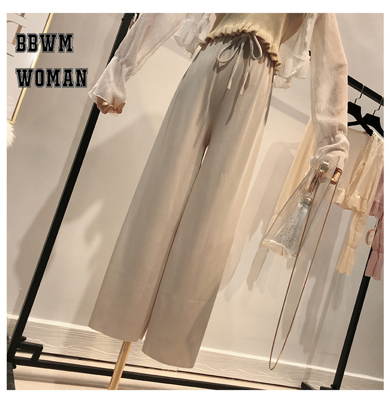 Korean Summer Ice Silk Knit High Waist Wide Leg Pants Ankle Length Straight Casual Fashion Trousers ZO437 41