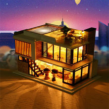 kids Toy 25cm 3D Wooden DIY Real Furniture LED House For Children Christmas present Toy Puzzle Decorate Creative Christmas ToY(China)