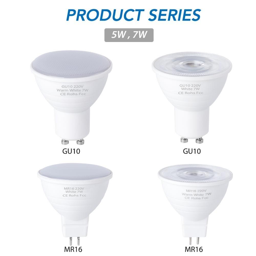 Лампа GU10 Светодиодная лампа 220 В точечные лампы 6 12 светодиодов Lampara LED 240 В GU 10 Bombillas Led MR16 gu5.3 лампада точечный свет 5 Вт 7 Вт Ampul
