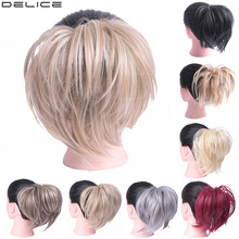 Delice Women Elastic Donut Chignon Rubber Band Synthetic Straight Big Scrunchie Wrap On Hair Ring For Ponytail Hairpieces