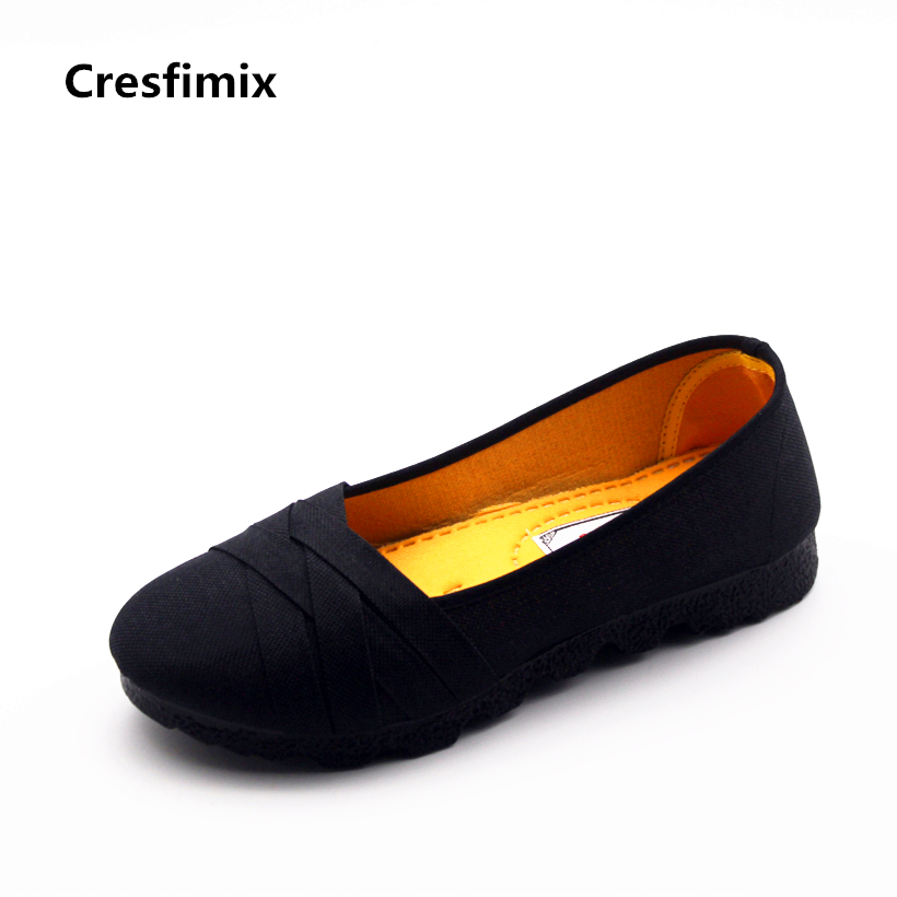 Cresfimix sapatos femininas women casual black summer loafers woman fashion soft & comfortable spring shoes female cute shoes cresfimix sapatos femininas women casual soft pu leather flat shoes with side zipper lady cute spring
