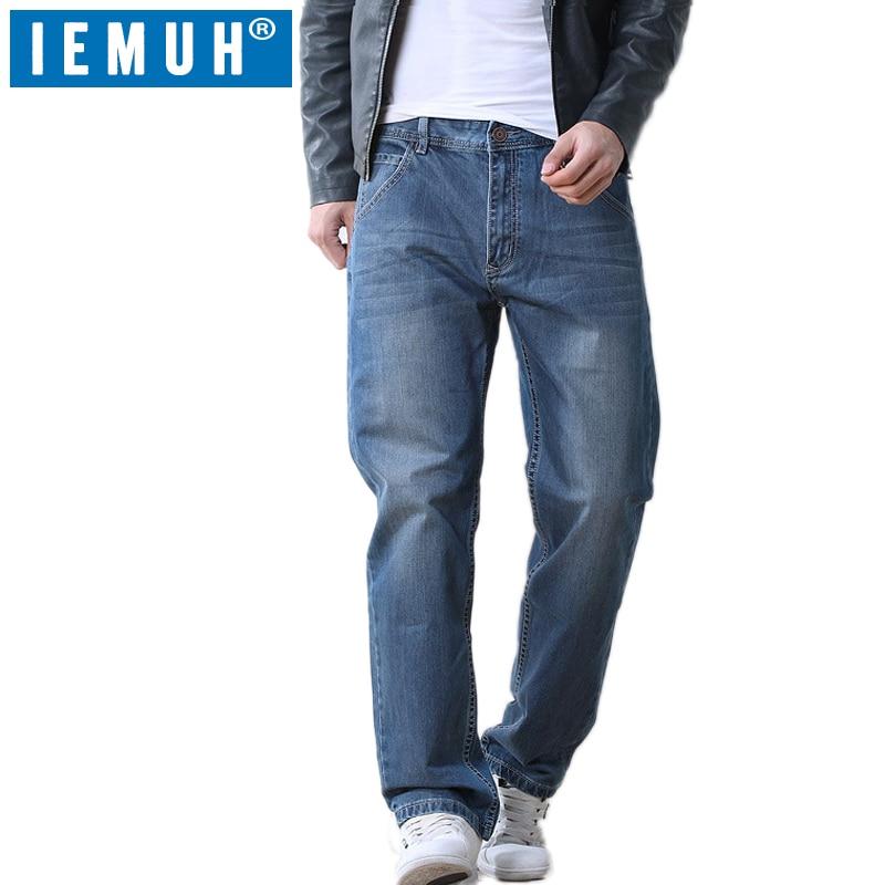 Iemuh زائد حجم الجينز الرجل الجينز عارضة منتصف الخصر فضفاض السراويل الطويلة الذكور الصلبة مستقيم الجينز للرجال الكلاسيكية 28 48-في جينز من ملابس الرجال على  مجموعة 1