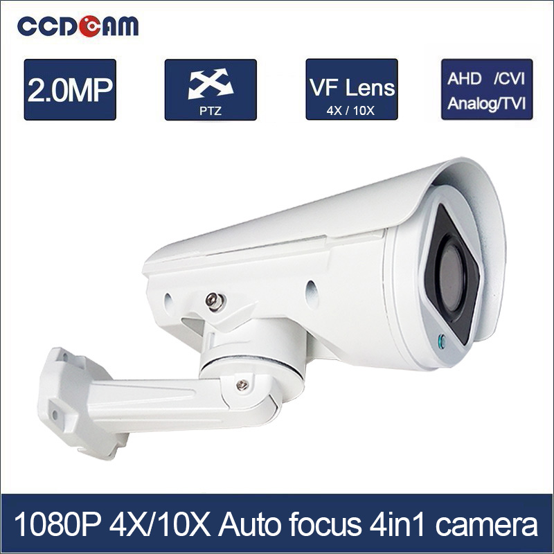CCDCAM 4in1 AHD CVI TVI CVBS 2MP Bullet CCTV PTZ Camera 1080P 4x/10x Optical Zoom Outdoor Weatherproof, Night Vision IR 30M hd ahd cvi tvi cvbs bullet camera with alarm speaker waterproof ip67 hd 1080p 4 in 1 security camera outdoor night vision ir 20m