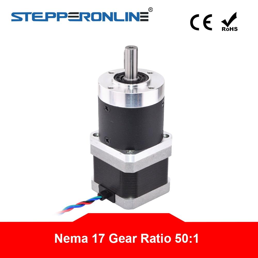 STEPPERONLINE Nema 17 Geared Stepper Motor L=39mm Gear Ratio 5:1 High Precision Planetary Gearbox for 3D Printer CNC Robot