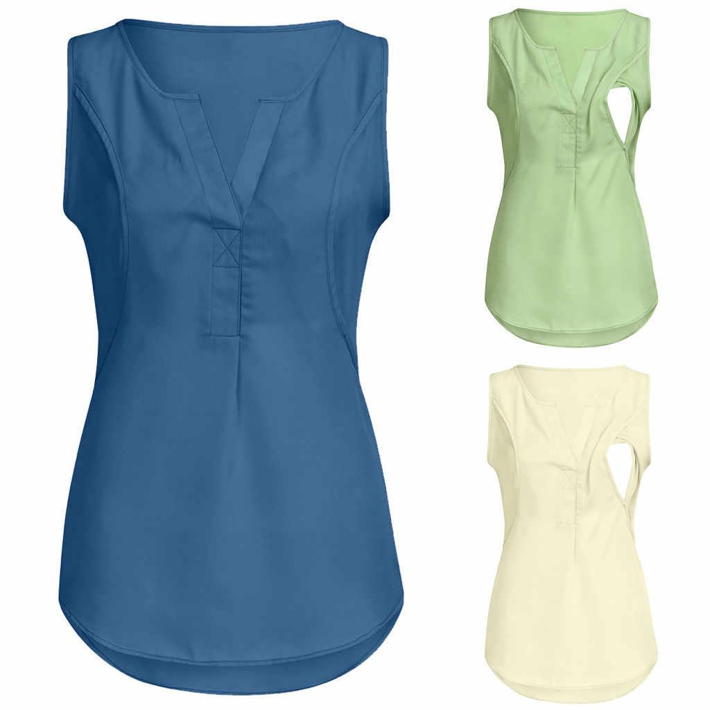 2019 בהריון חולצות שיפון Nusring שרוולים סקסי V-צוואר חולצות מקרית Loose Lrregularity מוצק ropa בתוספת גודל mujer