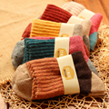 1Pair/lot New Winter Style Candy Patchwork Warm Wool National Wind Women Girls Ladies Socks Fashion Red Grey Calcetines Mujer