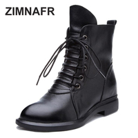 ZIMNAFR BRAND 2017 GENUINE LEATHER MARTIN BOOTS WOMEN WINTER BOOTS WATERPROOF ANTISIKD LACE UP WOMEN AUTUMN