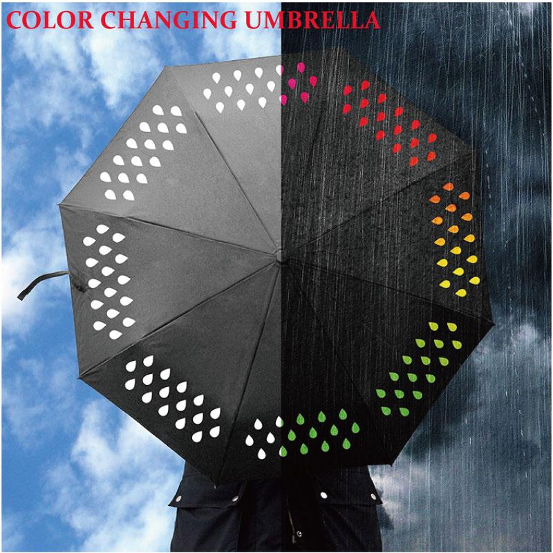 Creative fashion black Wind Resistant color changing Three Folding umbrella rain women Men Windproof travel Umbrellas