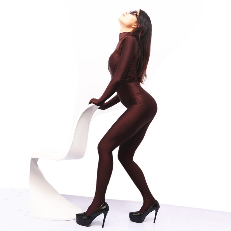 (MS066) Sexy women shiny lycra dark coffee catsuit fetish zentai suit without headhood halloween customized