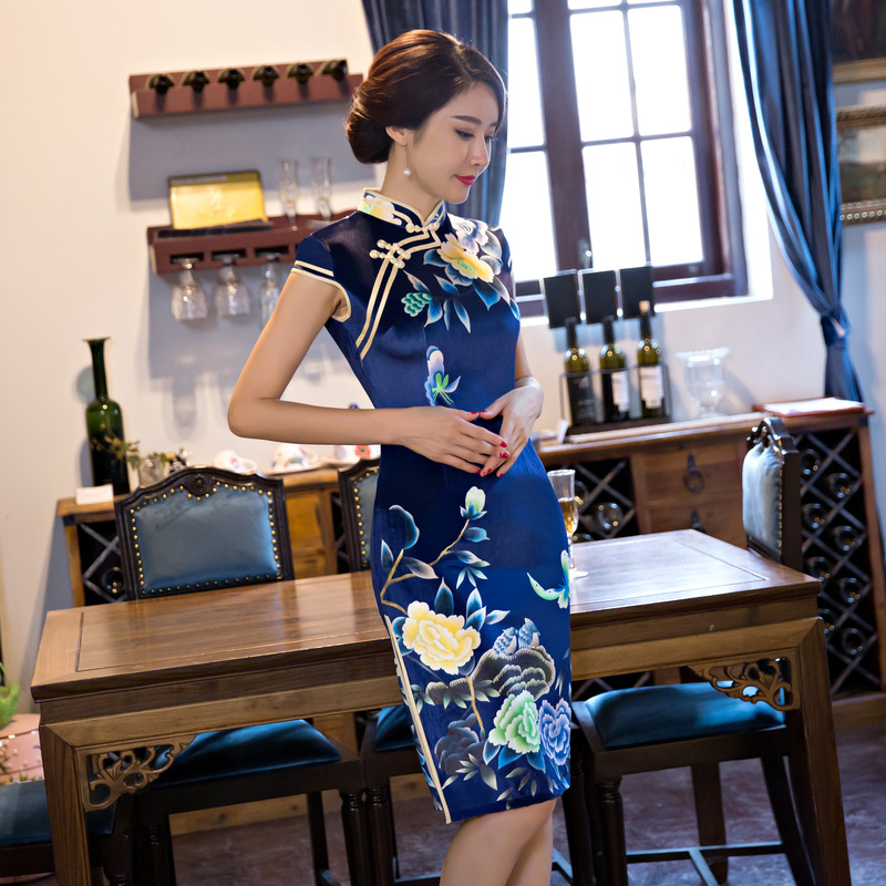 Fengmeisi chinese cheongsam short qipao women velvet print modern tradicional vintage elegant party oriental dresses P3073